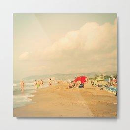 Red umbrella on the beach Metal Print