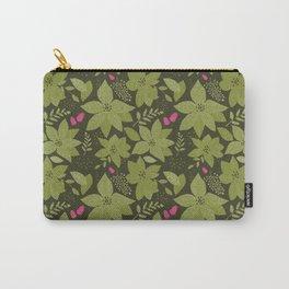 MickMick's Serene Poinsettia Dark Green Carry-All Pouch