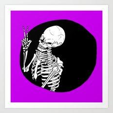 Skeleton Wink Art Print