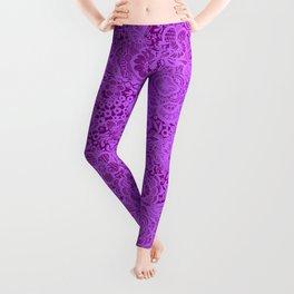 Purple/ violet lace flowers and birds Leggings