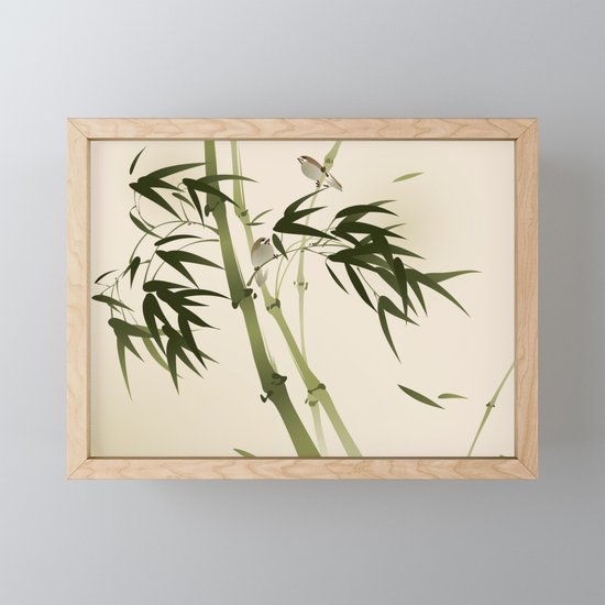 Oriental style painting, bamboo branches by oriartiste
