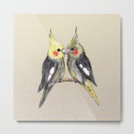 Two cute cockatiels Metal Print