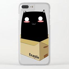 Black Cat in a Box Clear iPhone Case