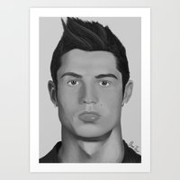 ronaldo Art Prints featuring Cristiano Ronaldo by OliverThor