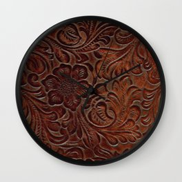 Burnished Rich Brown Tooled Leather Wall Clock