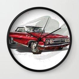 Red Old fashion Car Wall Clock