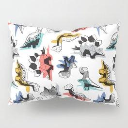 Geometric Dinos // non directional design white background multicoloured dinosaurs shadows Pillow Sham