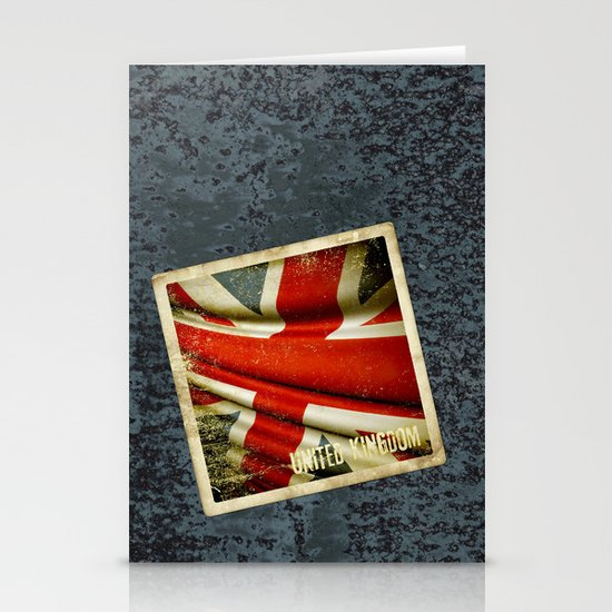 Sticker with UK flag Stationery Cards