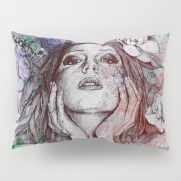 The Withering Spring: Wine (nude tattooed girl with flowers) Pillow Sham
