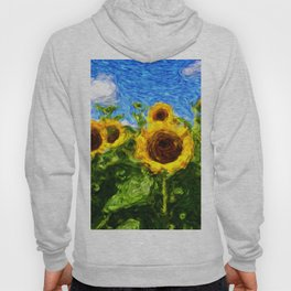 sunflower field in a bright summer day Hoody
