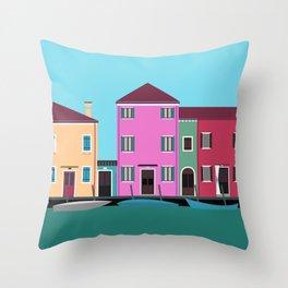 Burano, Italy Travel Poster Block Type Throw Pillow
