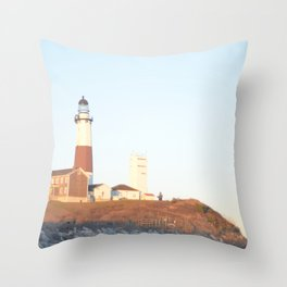 Sunset at Lighthouse in East Hampton Throw Pillow