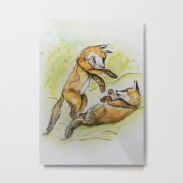Two Playing Foxes Metal Print