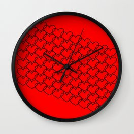 Vintage background from hearts. Background or pattern Valentine's Day silhouettes of black hearts on Wall Clock