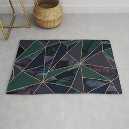 geometric plants and leaves, green blue and purple Rug