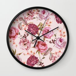 Blush Pink and Red Watercolor Floral Roses Wall Clock