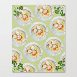 Passover Matzo Ball Soup (green) Canvas Print