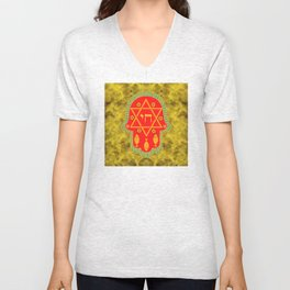 Hamsa for blessings, protection and strength - gold and red watercolor Unisex V-Neck