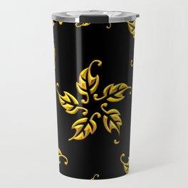Golden 3-D Look Leaf Rosettes Travel Mug
