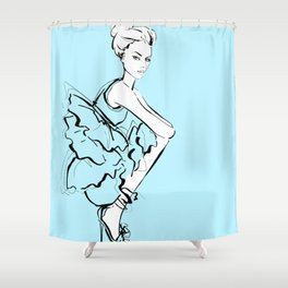 Girl in a frill dress Shower Curtain