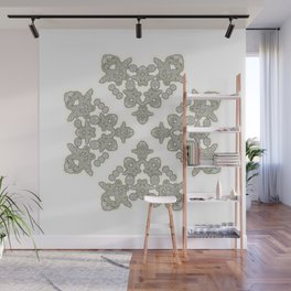 'Love 03' - Dutch heart of lace in grey and soft yellow Wall Mural