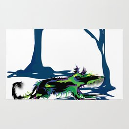 """Wolfdog"" Paulette Lust Original, Contemporary, Whimsical, Colorful Art Rug"