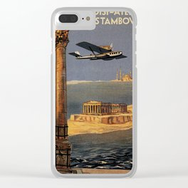 Italian vintage plane travel Brindisi Athens Istanbul Clear iPhone Case