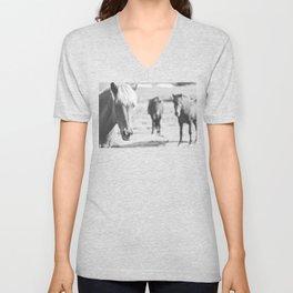 B&W horses Unisex V-Neck