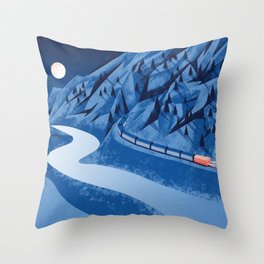 Camping in the moonlight at night while watching the train Throw Pillow