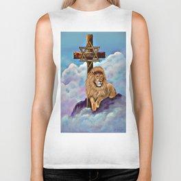 Lion of Judah at the Cross Biker Tank
