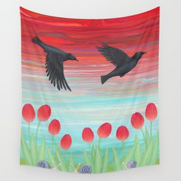 crows, tulips, & snails Wall Tapestry