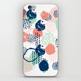 Abstract coral mint navy modern color palette basic canvas art for home iPhone Skin