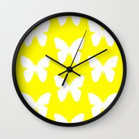 butterfly Wall Clocks featuring Butterfly by Naked N Pieces