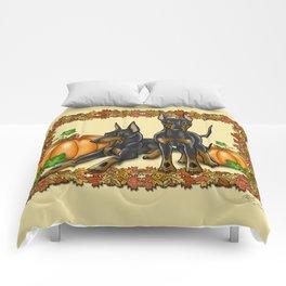 Manchester Terrier Autumn and Pumpkins Comforters