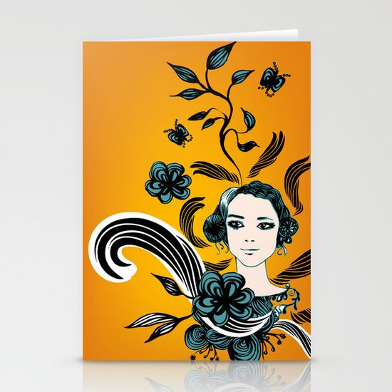 floral girl Stationery Cards