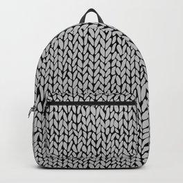 Hand Knit Grey Black Backpack