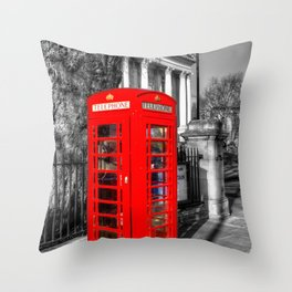 London Red Telephone Box Throw Pillow