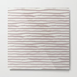 Simply Shibori Stripes Clay Pink on Lunar Gray Metal Print