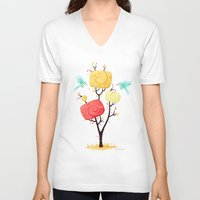 autumn V-neck T-shirts featuring Autumn by Freeminds