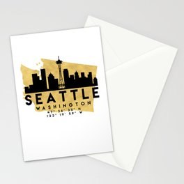 SEATTLE WASHINGTON SILHOUETTE SKYLINE MAP ART Stationery Cards