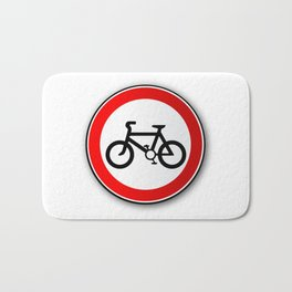 Cyclist Road Traffic Sign Bath Mat