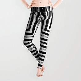 Geometric Black and White African Inspired Pattern Leggings