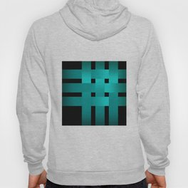 Abstraction .Weave turquoise satin ribbons . Patchwork . Hoody
