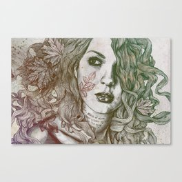 Wake: Autumn (street art woman with maple leaves tattoo) Canvas Print