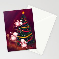 Chubby bunnies decorate the tree Stationery Cards