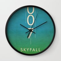 skyfall Wall Clocks featuring skyfall by alex lodermeier