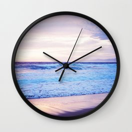 Purple Sunset over Hermosa Beach, Los Angeles  Wall Clock