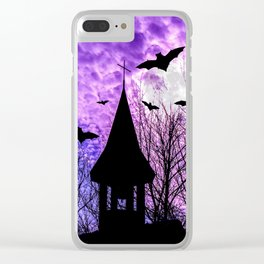 Bats in a full moon night Clear iPhone Case