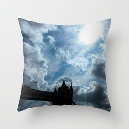 A plane flies over Tower Bridge Throw Pillow