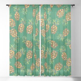 Pineapple Pattern Green Sheer Curtain